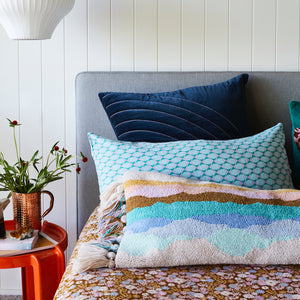Yuma Velvet Sham in Denim. Generous sized terracotta coloured cushion with velvet base. Features a taffy rainbow stitching and a great alternative to Euro Pillow.