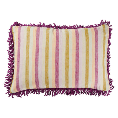 Violette Linen Striped Fringe Cushion PLAY Sage x Clare