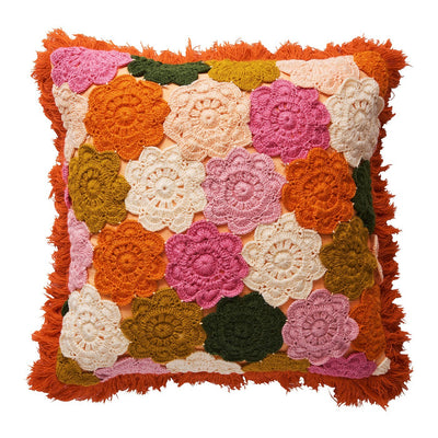 Wilma Crochet Cushion with multi-coloured floral mandalas and a fringed edge