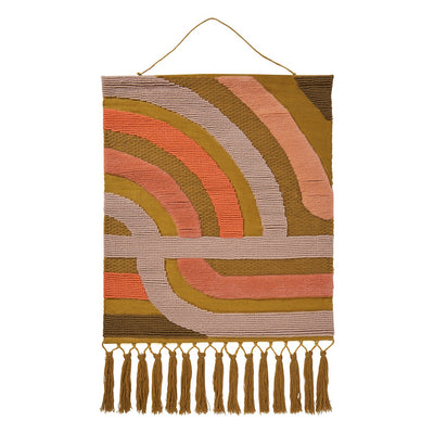 Wilma Woven Wall Hanging with multi-coloured curved stripe pattern, knotted fringing and hanging tassels