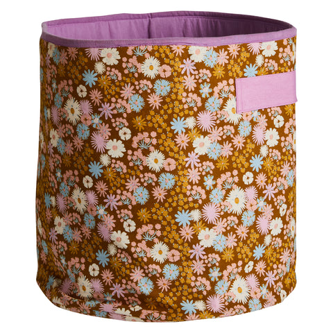 Romy cotton storage basket with pink handles small floral 70s medium