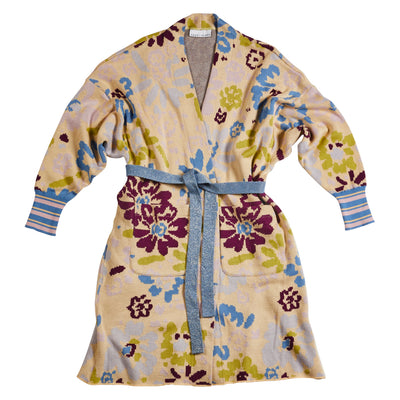 Willa Cotton Jacquard Floral Robe Sage x Clare