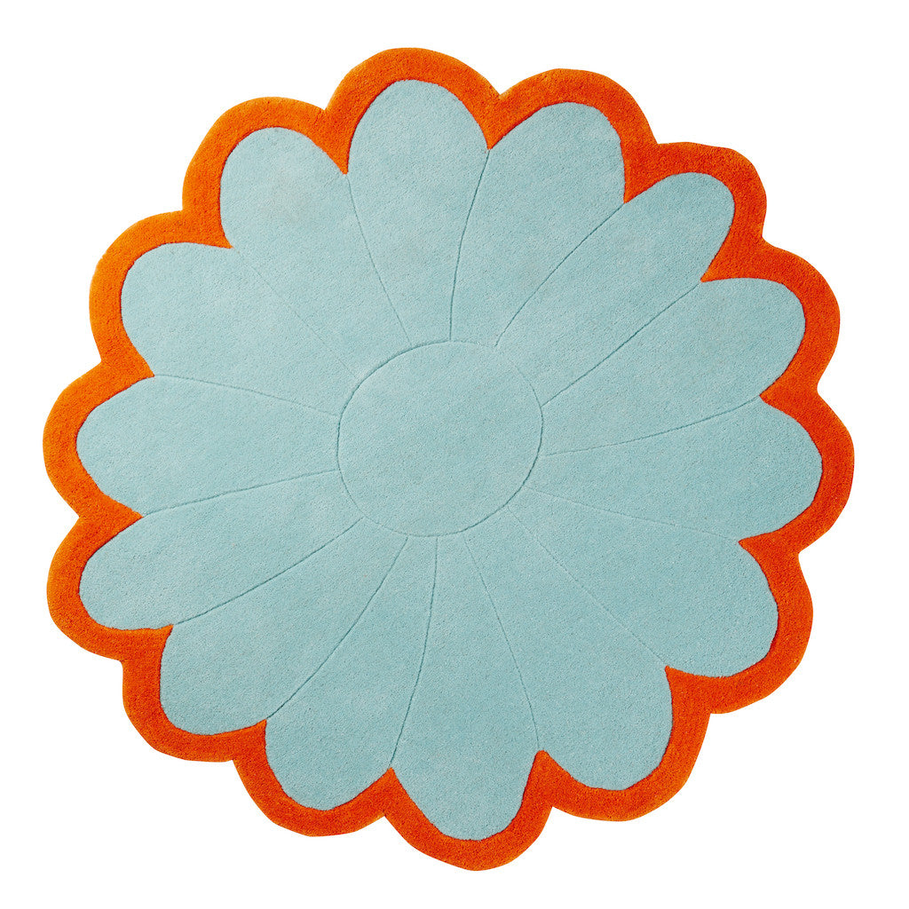 ... Wool Tufted Round Flower Rug Aqua ...