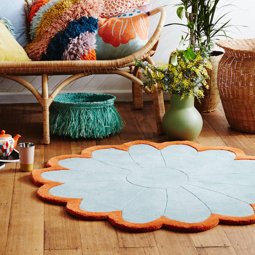 Wool Tufted Round Flower Rug Aqua