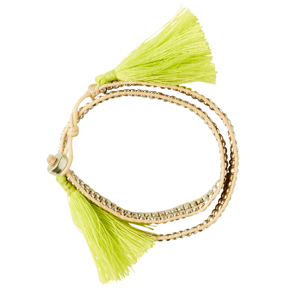 Wraparound Beaded Tassle Bracelet