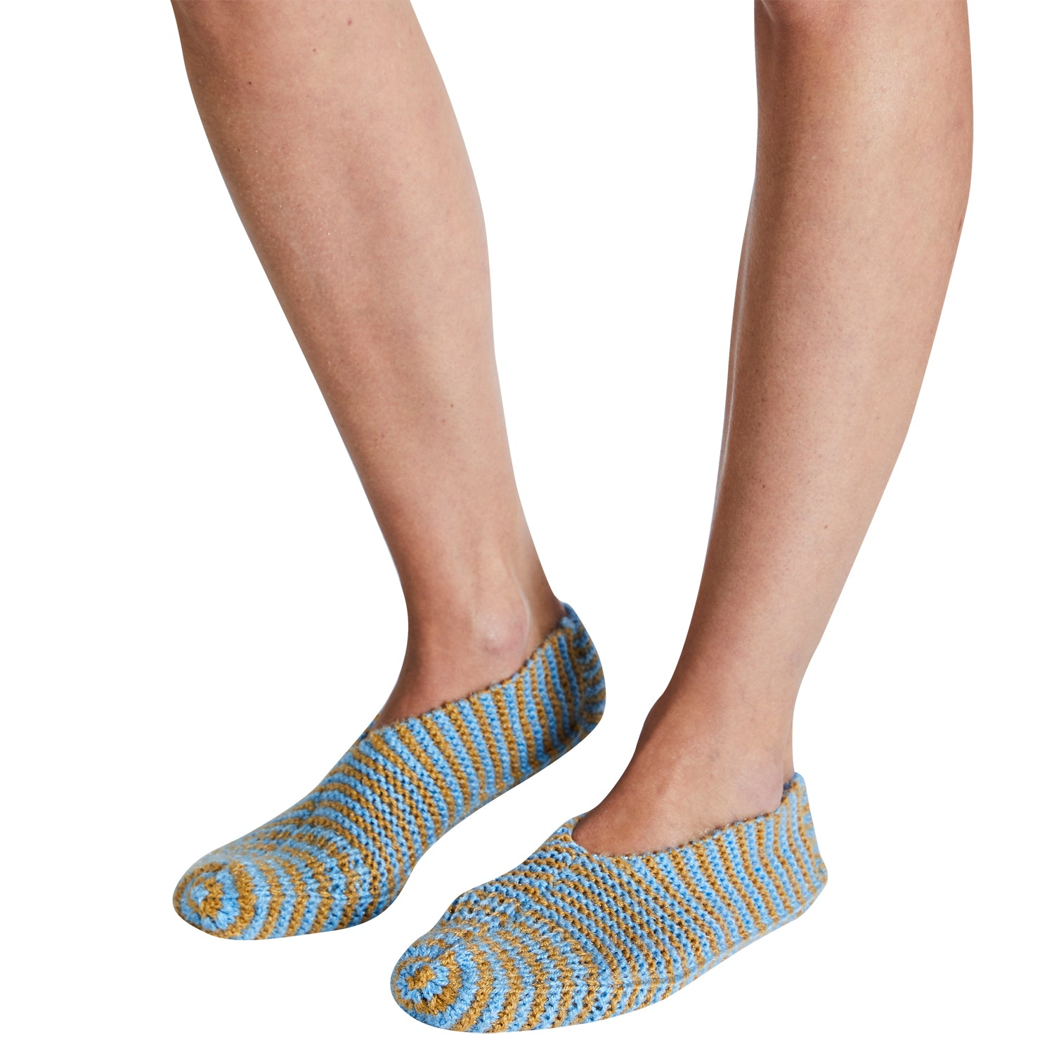 Yoki house socks knitted blue ochre tobacco short striped