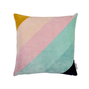 Yves velvet retro diagonal stripe hand printed cushion lilac