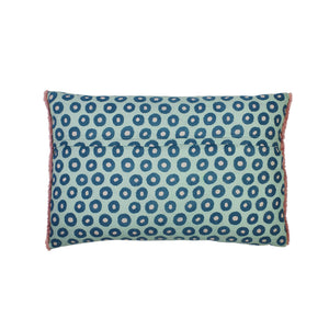 Zara mirror work embroidered evil eye cushion with hand printed reverse and fringing