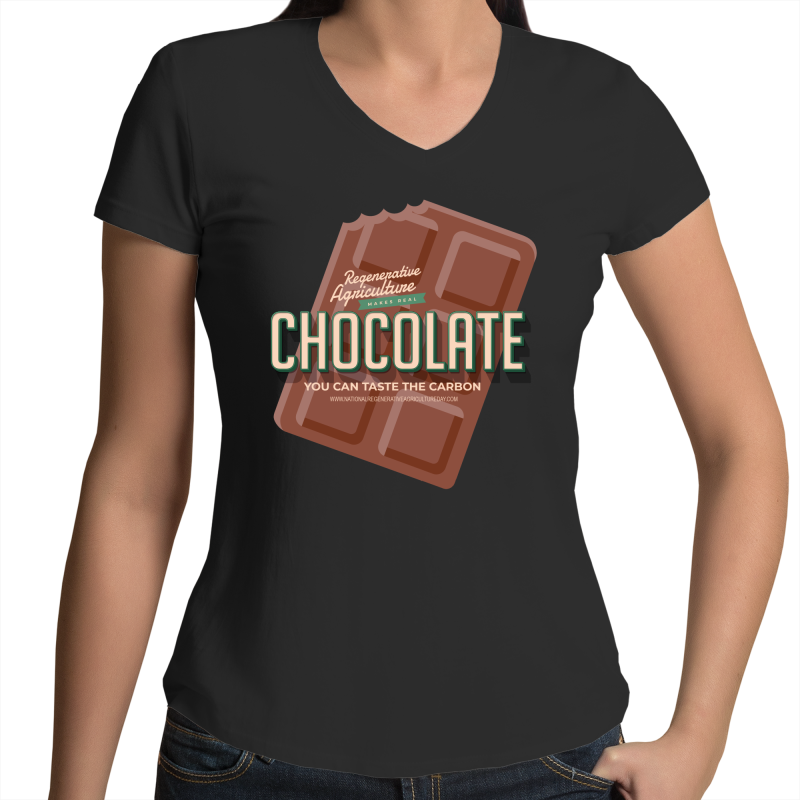 'Choco'  AS Colour Bevel - Womens V-Neck T-Shirt