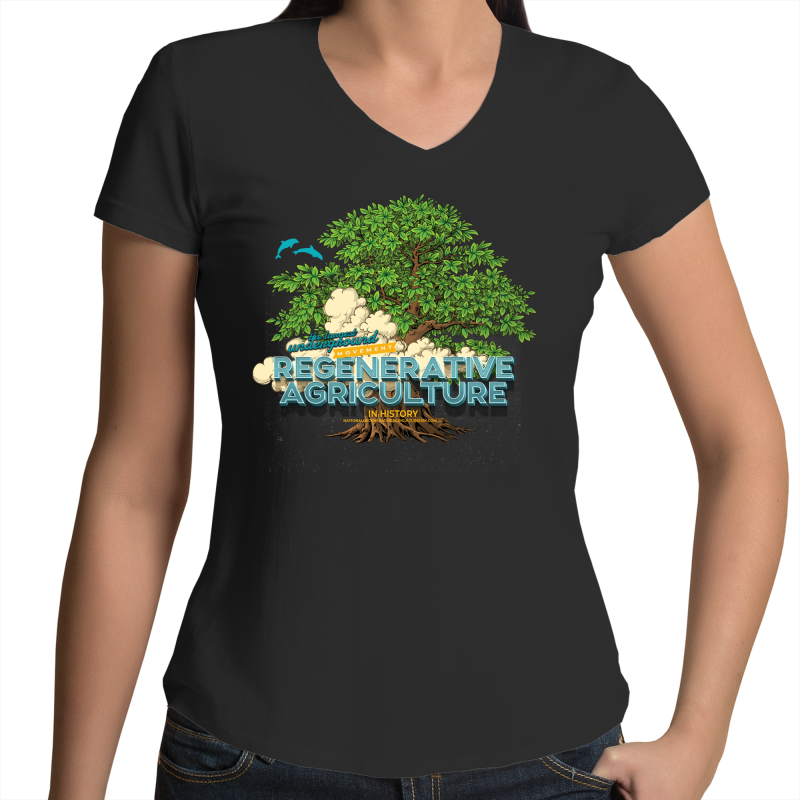'Tree cloud'  AS Colour Bevel - Womens V-Neck T-Shirt