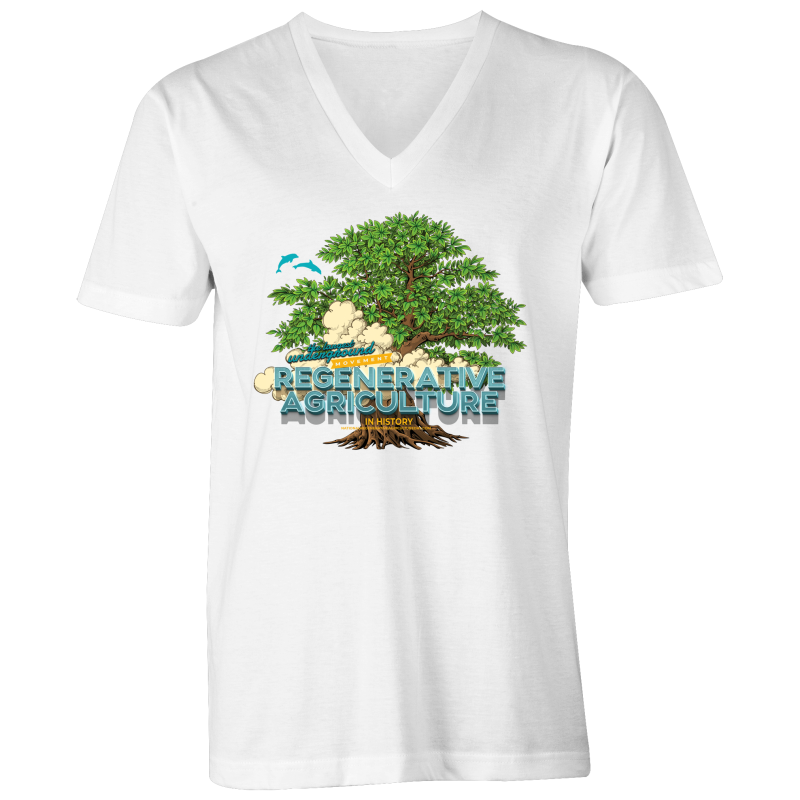 'Tree cloud' AS Colour Tarmac - Mens V-Neck Tee
