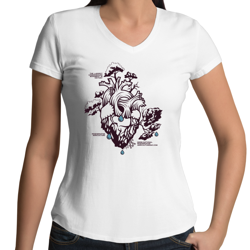 'Stencil'  AS Colour Bevel - Womens V-Neck T-Shirt