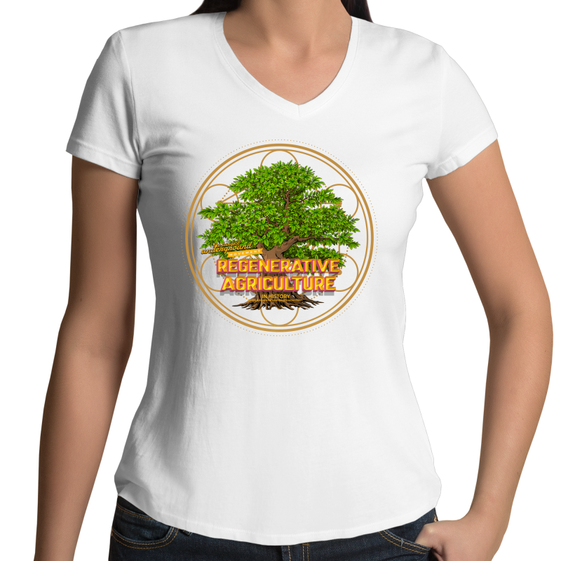 'Tree geometry' AS Colour Bevel - Womens V-Neck T-Shirt