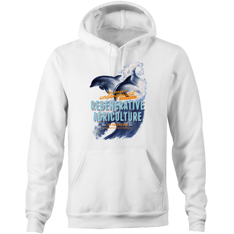 ' Dolphins'  AS Colour Stencil - Pocket Hoodie Sweatshirt