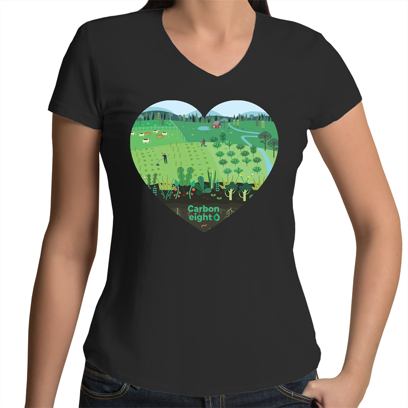 CARBONHEART -  AS Colour Bevel - Womens V-Neck T-Shirt