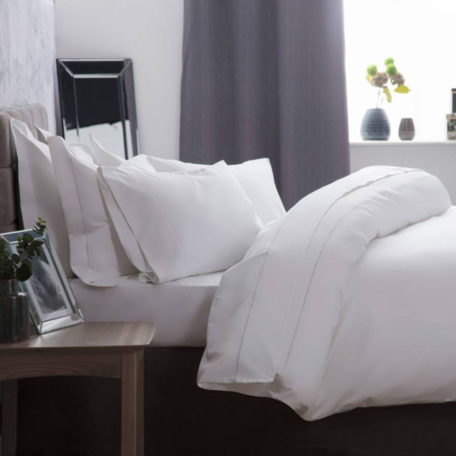 Fine Pure Cotton 1200TC White Bed Linen - 50% OFF