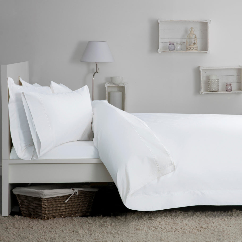 Egyptian Cotton Blend Sateen 400TC White Bedding - 50% OFF