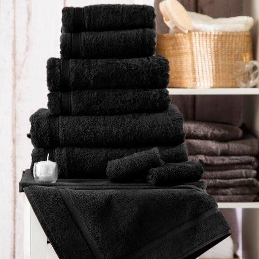 Luxury 5* Hotel Suite Cotton Black Towels