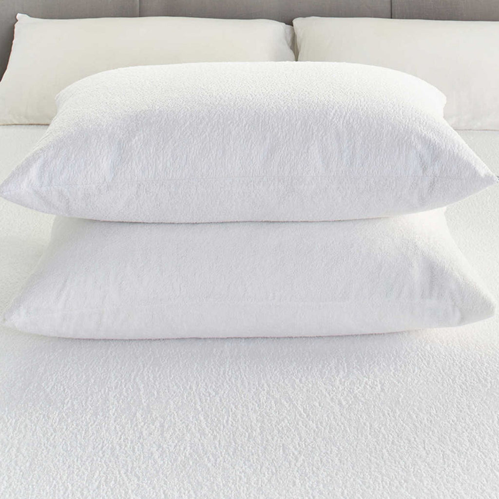 100% Cotton Terry Waterproof Pillow Protector Pair – Linen