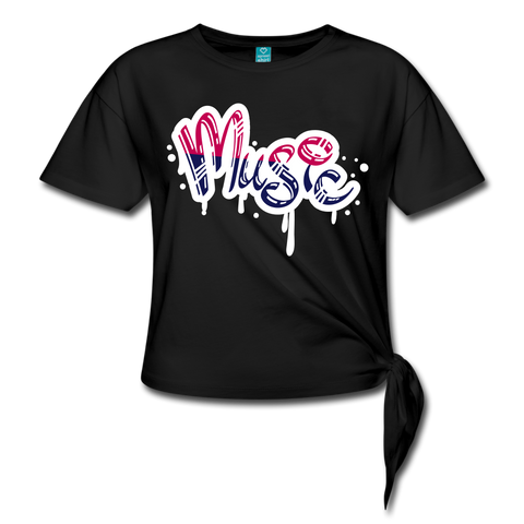 Music Knotted T-Shirt - black