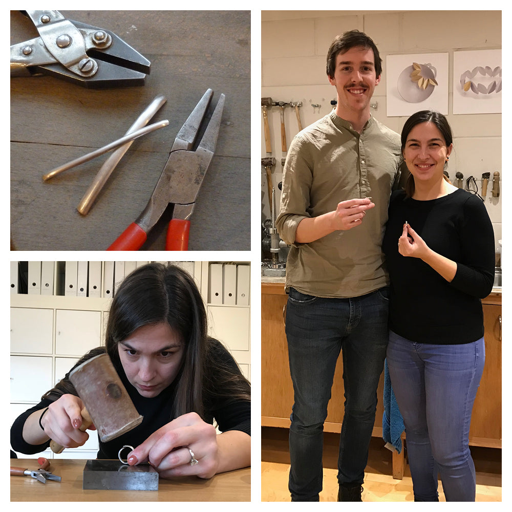 Students making their own wedding rings with Sue Lane