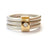 Silver and gold 3 band ring with a diamond