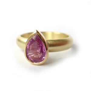 Pink sapphire contemporary jewellery commission engagement ring.