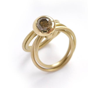 Contemporary, handmade, and unique 18ct gold ring champagne diamond Russian style - commission