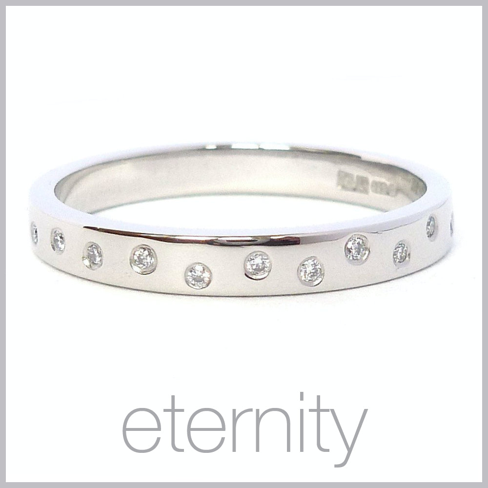 Contemporary jewellery remodelling commissioning eternity rings