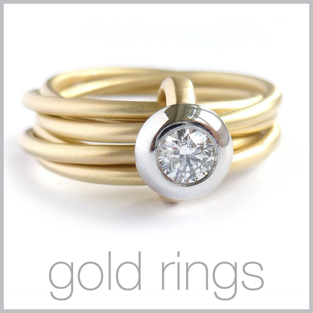 Contemporary jewellery remodelling commissioning gold rings