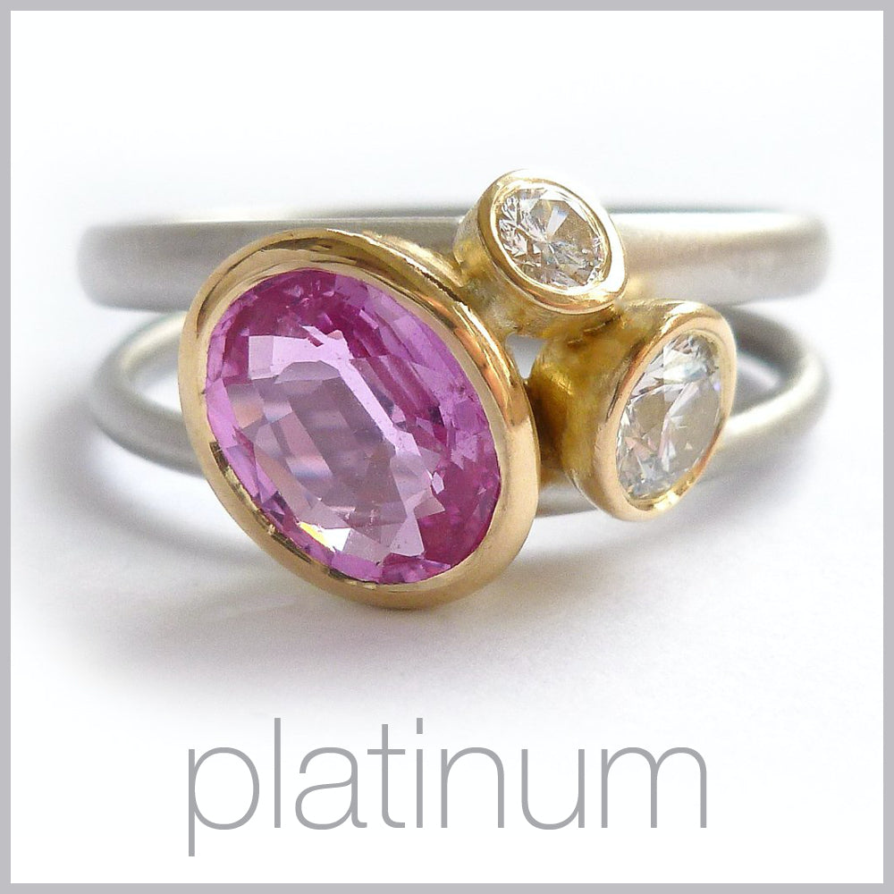 Contemporary jewellery remodelling commissioning platinum rings