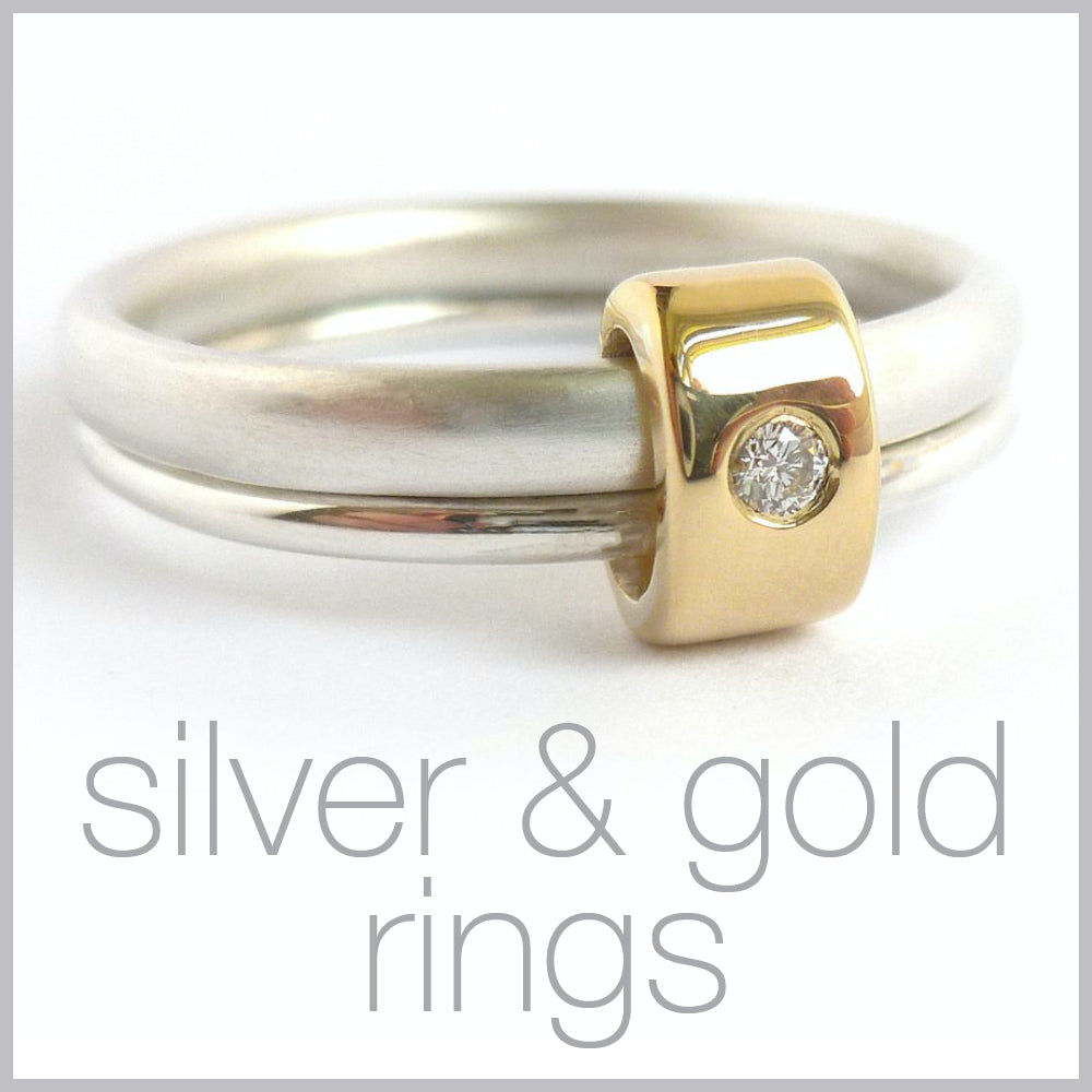 Contemporary jewellery remodelling commissioning silver and gold rings