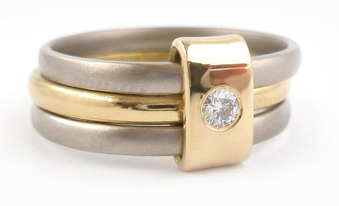 18ct White and Yellow Three Band Gold Engagement Ring with Diamond - Sue Lane.