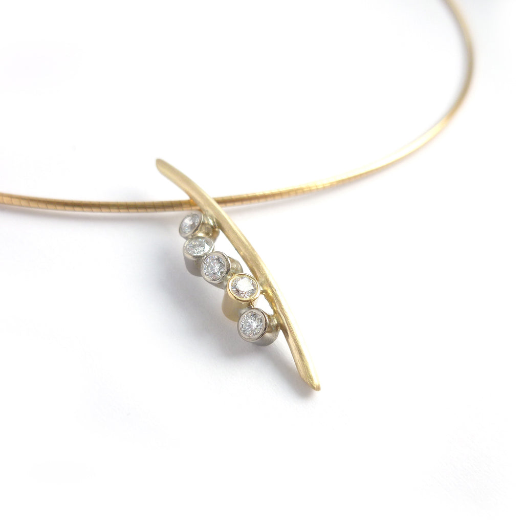 gold and diamond necklace inspired by twigs by Sue Lane