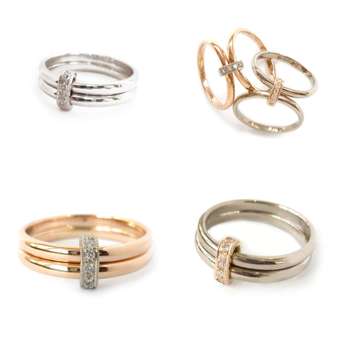 18k gold contemporary and modern rings made to commission by Sue Lane