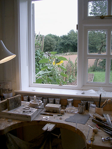 A close up view of my jewellery making studio bench in Herefordshire