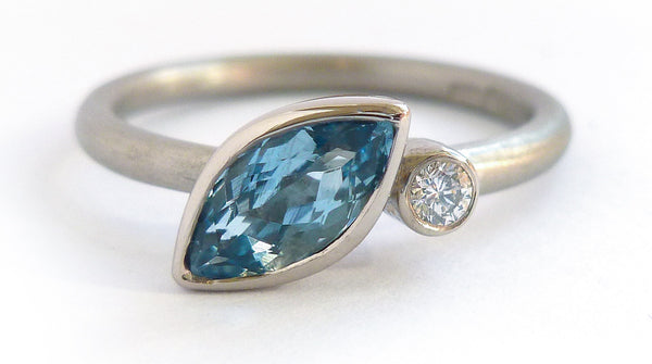 Contemporary engagement ring made to commission. Commission your engagement ring with Sue Lane.