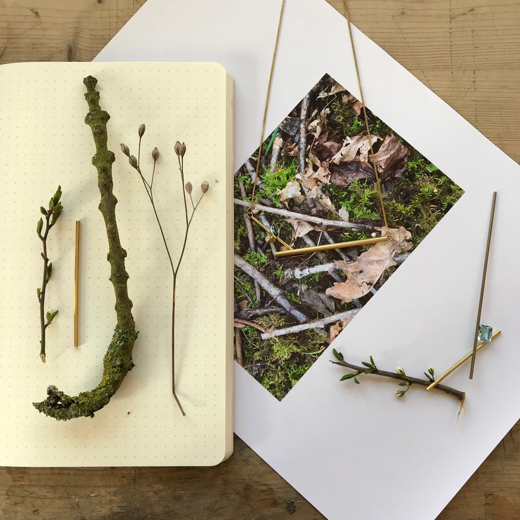 sketch book idea from twigs with jewellery ideas by Sue Lane