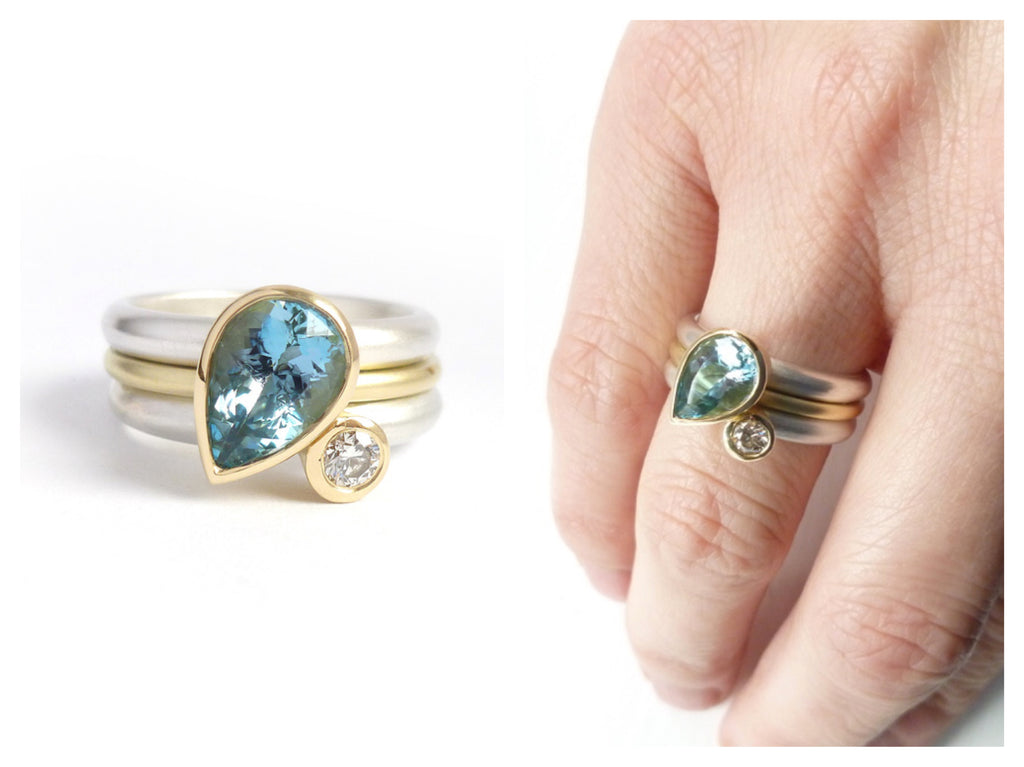 Modern, made to order bespoke ring - aquamarine and diamond for birthday