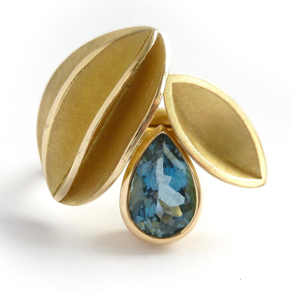 Dark blue aquamarine and gold bespoke contemporary ring set handmade by Sue Lane