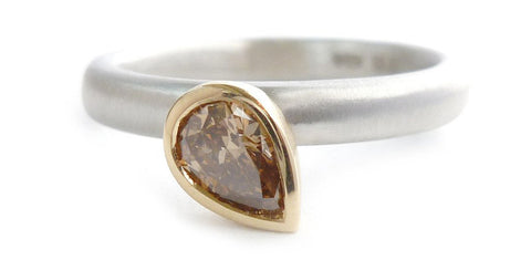 Platinum and cognac / champagne diamond engagement ring - contemporary and unusual stones
