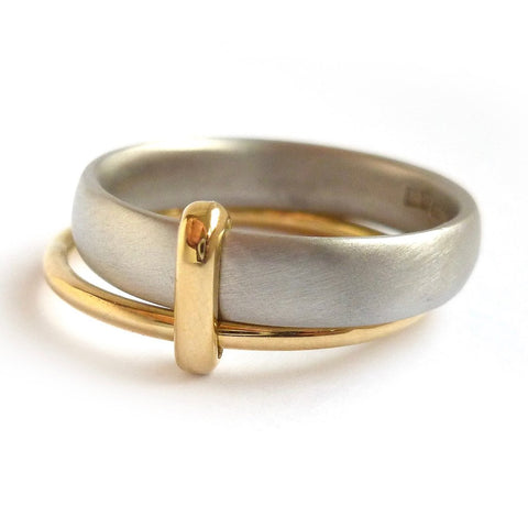 Multi banded wedding ring - handmade in Hereford, Herefordshire by Sue Lane contemporary jewellery designer.