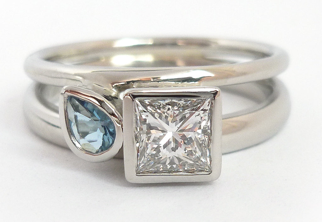 Commission a ring using your own stones and diamond - bespoke, handmade, handcrafted