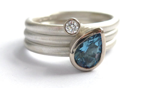 A unique aquamarine and diamond engagement ring, which is wonderfully tactile and comfortable to wear.