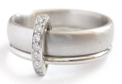 Modern contemporary eternity ring - platinum with diamonds - Sue Lane.