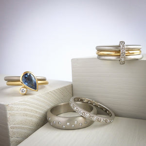 Handmade, unique, modern and contemporary wedding and engagement wedding eternity rings by Sue Lane, Herefordshire UK.