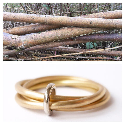 modern gold twisted wedding ring