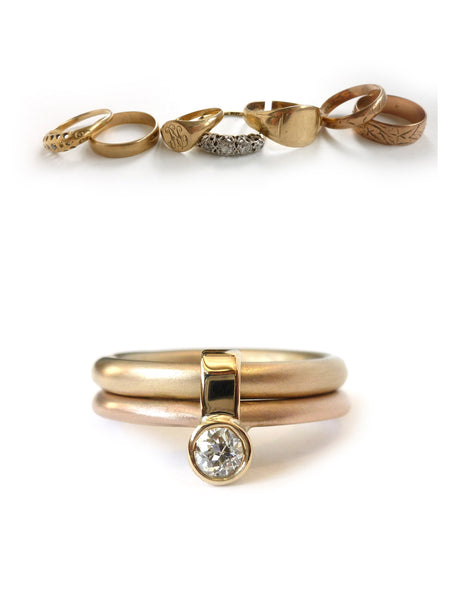 Sue lane contemporary rose and yellow gold diamond ring, handmade and bespoke remodelled ring.