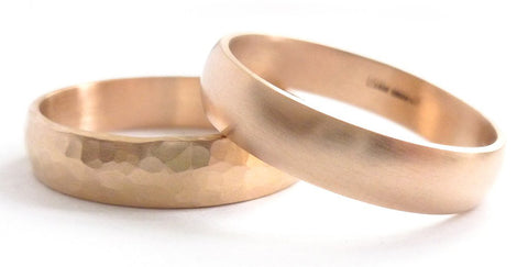 A contemporary mens 18ct rose gold wedding ring / band handmade to your size and required finish.