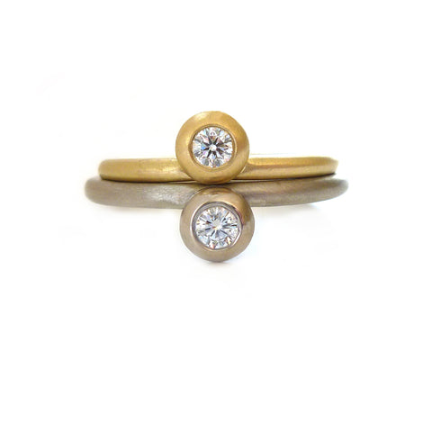 modern and contemporary gold and diamond engagement ring